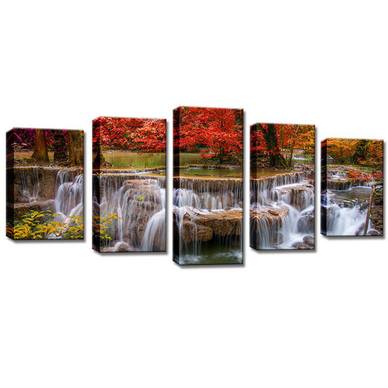 Stetched 5 Panels Red Tree Waterfall Landscape Modern Wall Art for Livingroom Decoration Ready To Hang - COLORMIX