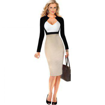 Women's Sheath Dress V Neck Color Block Sexy Dress by Dress Lily