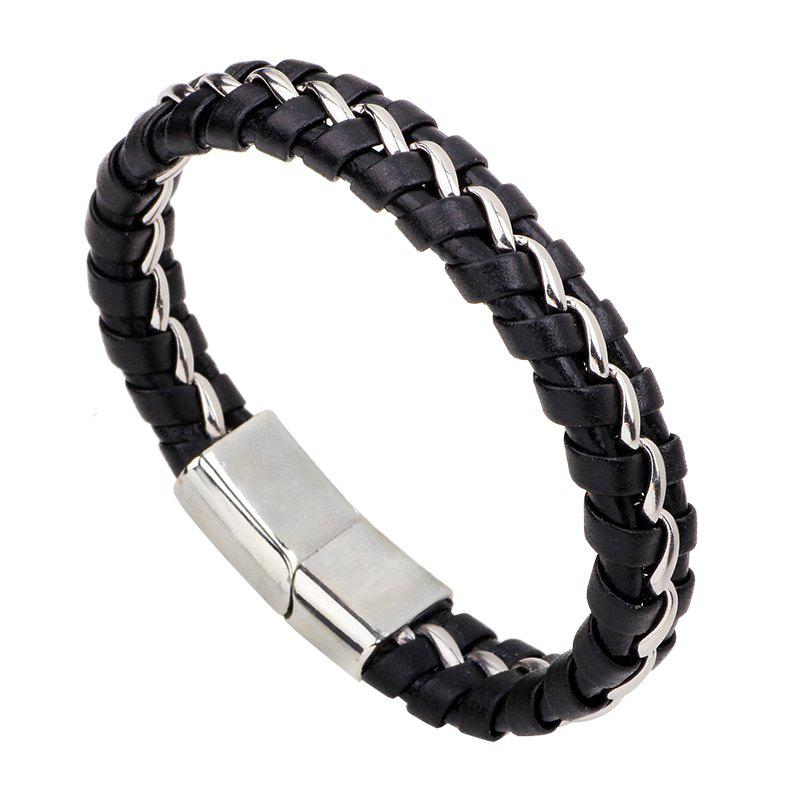Leather Braided Bracelet stainless Steel Chain for Men - BLACK R