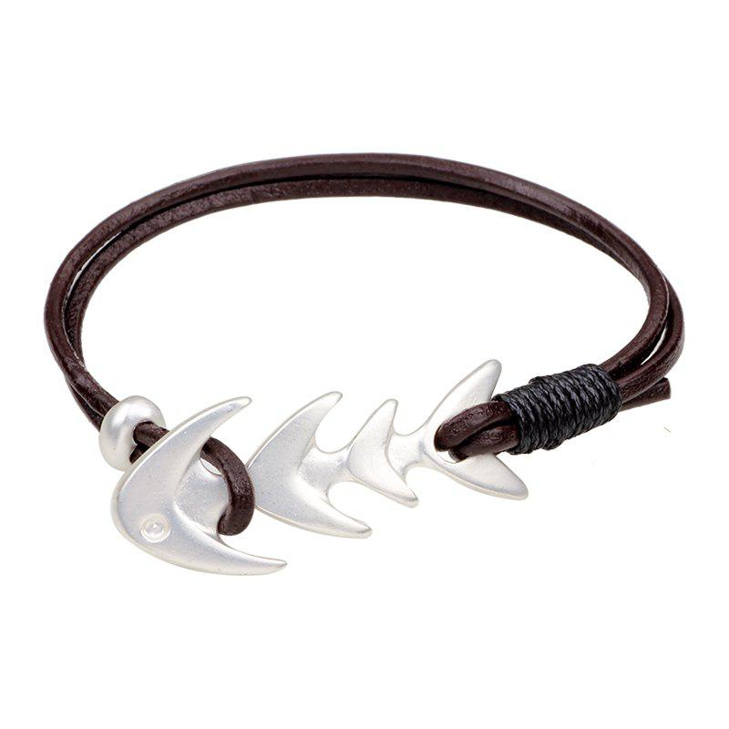 Simple Style Fashion Fishbone Bracelet Alloy Double-Deck - BROWN