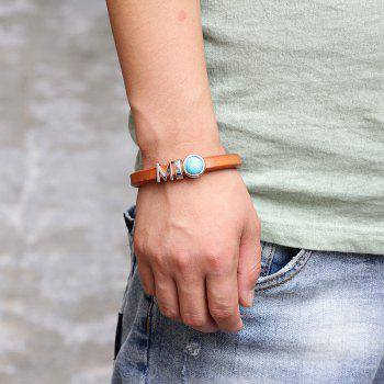 Fashion Leather Bracelet -  BROWN BLUE