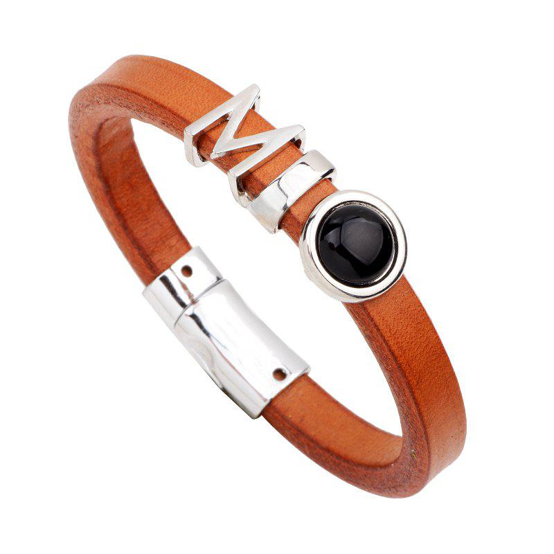 Fashion Leather Bracelet - BROWN BLACK