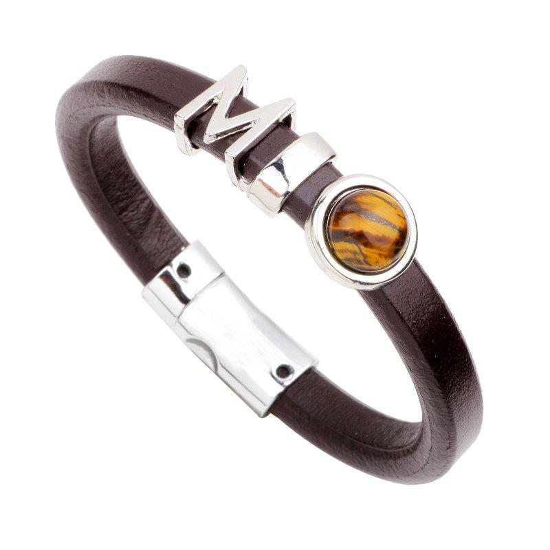 Fashion Leather Bracelet - DARK BROWN