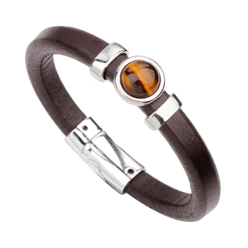 Gemstone Alloy Genuine Leather Bracelet - DARK BROWN