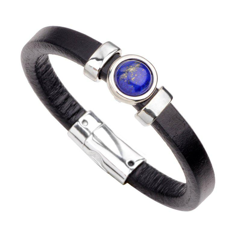Gemstone Alloy Genuine Leather Bracelet - BLACK R