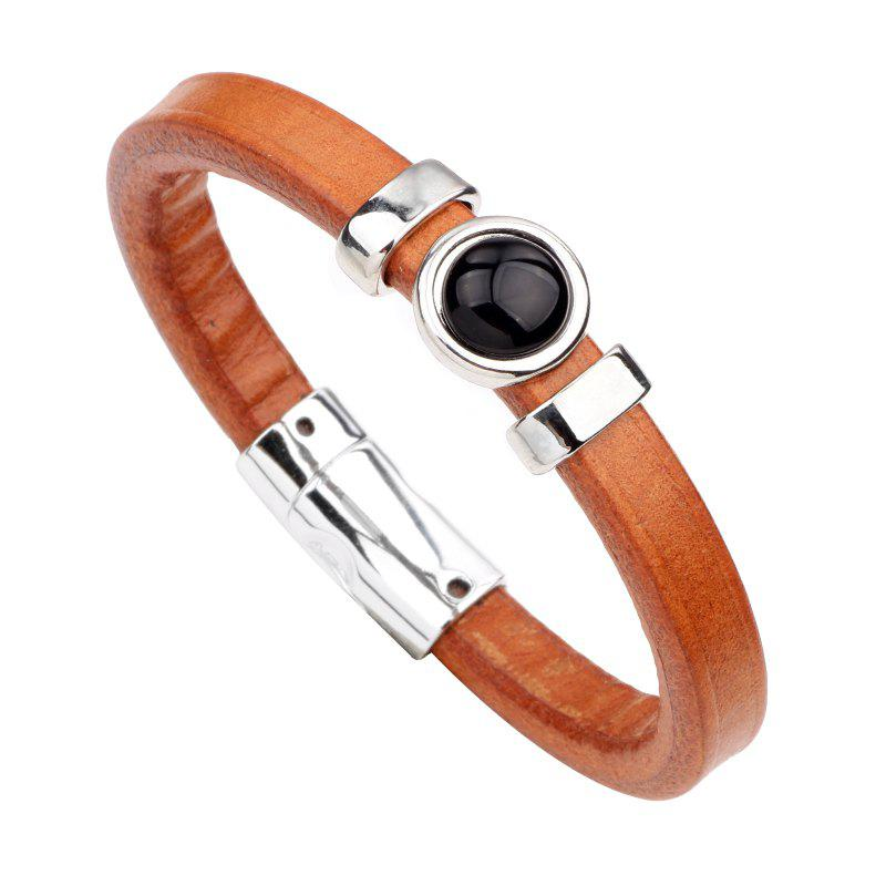 Gemstone Alloy Genuine Leather Bracelet - BROWN BLACK