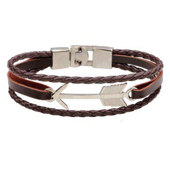 Alloy Arrows Hand Woven Leather Bracelet - BROWNIE BROWNIE