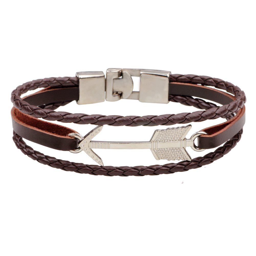 Alloy Arrows Hand Woven Leather Bracelet - BROWNIE
