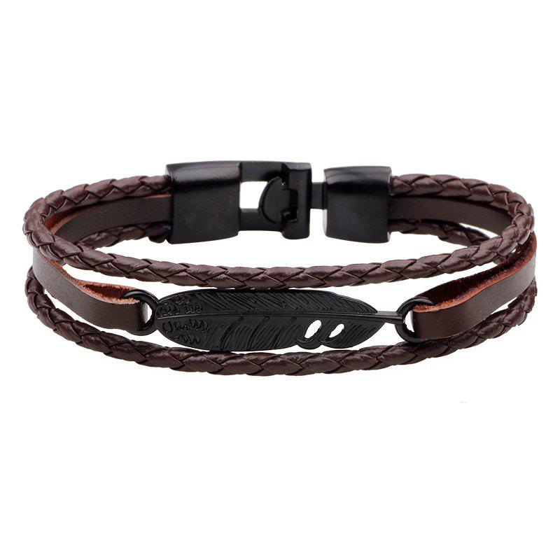 Alloy Feather Bracelet Punk Cowhide Hand-Woven Couple Bracelet - BROWN
