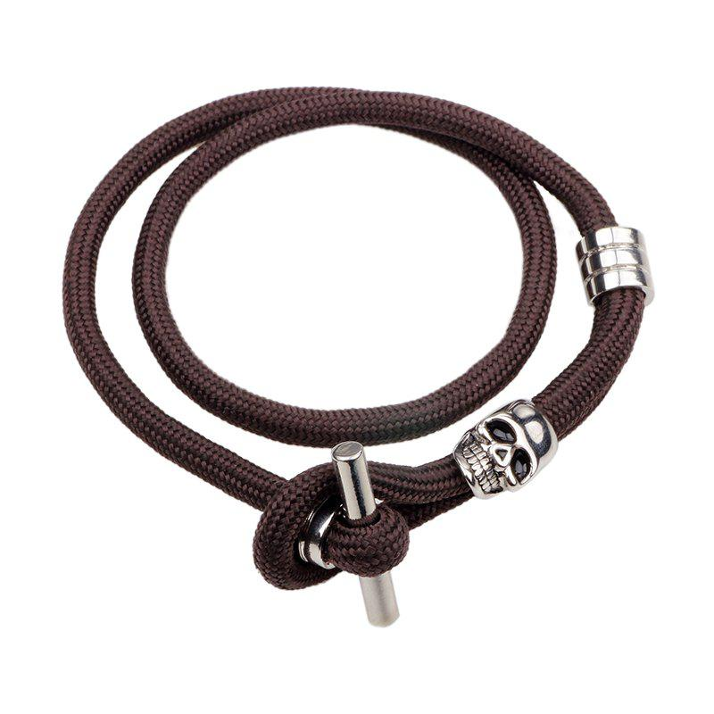 2017 Fashion Skull Bracelet Adorn Article - BROWN SILVER