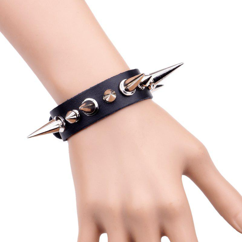 Korean Style Men'S Fashion Rivet Bracelet - BLACK R