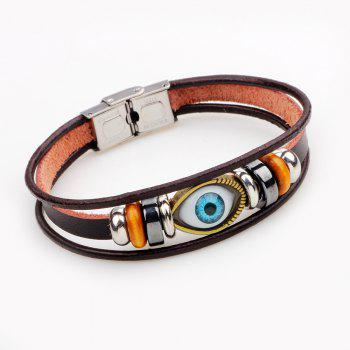 Korean Style Contracted Personality Eye Leather Bracelet - BROWN