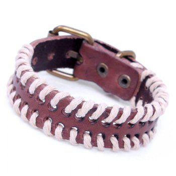 Hemp Rope Hand Woven Leather Bracelet -  BROWN