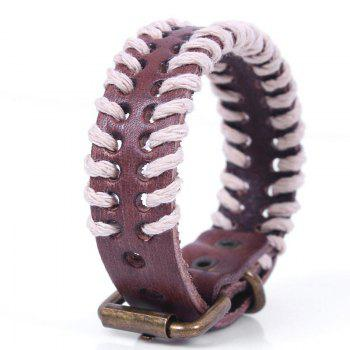 Hemp Rope Hand Woven Leather Bracelet - BROWN #26 BROWN