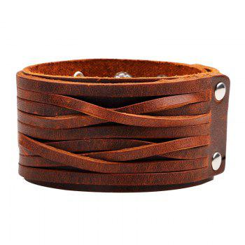Punk Style Wide Leather Bracelet -  BROWN