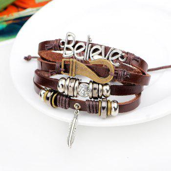 Korean Style Believe Feather Hook Braided Leather Bracelet - BROWN