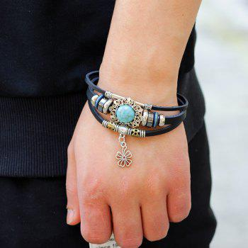 Four Leaf Clover Agio Leather Bracelet with Alloy - BLACK R
