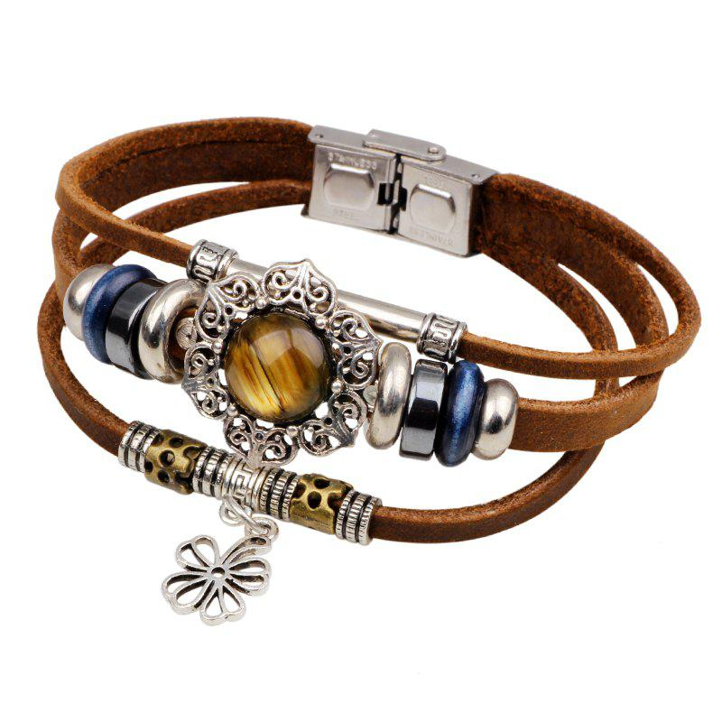 Four Leaf Clover Agio Leather Bracelet with Alloy - BROWN