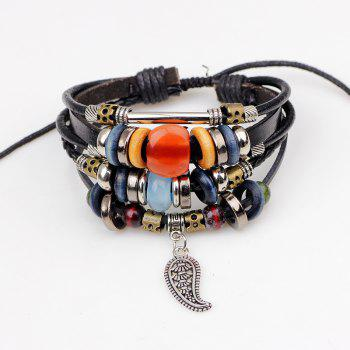 Braided Leather Cord Alloy Bracelet Genuine Leather - BLACK R