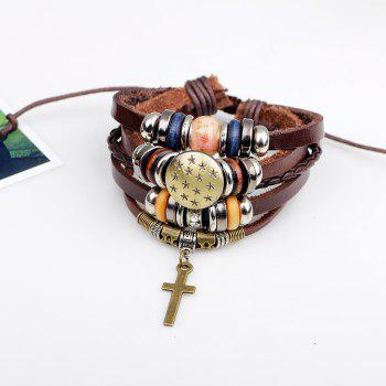 Jesus Cross Woven Bracelet - BROWN