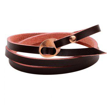 Multilayer Leather Bracelet - DARK  BROWN DARK BROWN