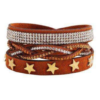 Multi-Layered Leather Long Bracelet with Diamond - BROWN #26 BROWN