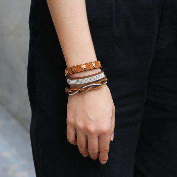 Multi-Layered Leather Long Bracelet with Diamond - BROWN