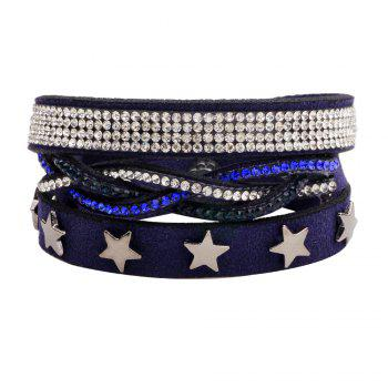 Multi-Layered Leather Long Bracelet with Diamond - BLUEBELL BLUEBELL