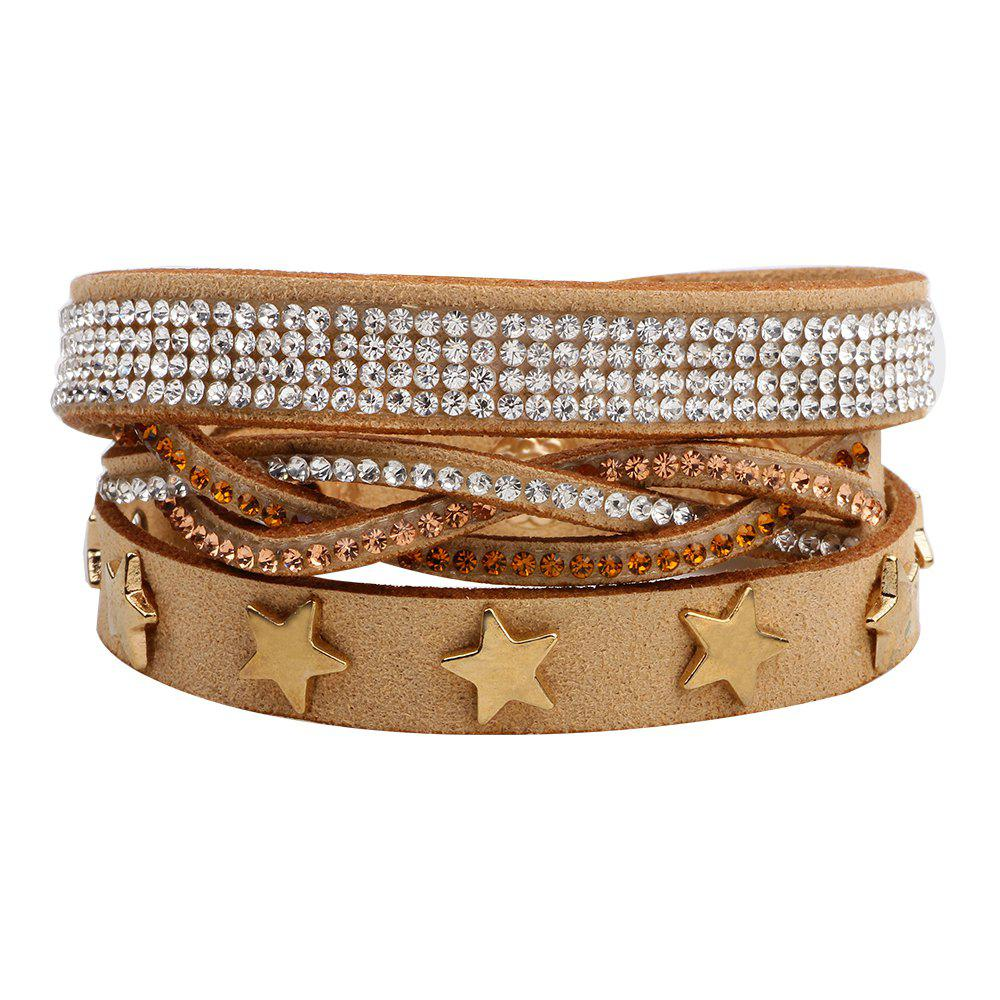 Multi-Layered Leather Long Bracelet with Diamond - LIGHT BROWN /