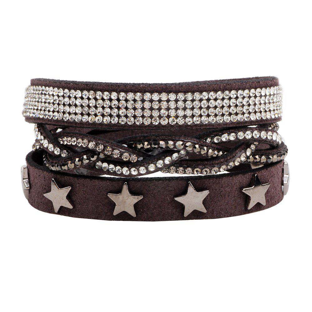 Multi-Layered Leather Long Bracelet with Diamond - GREY T /