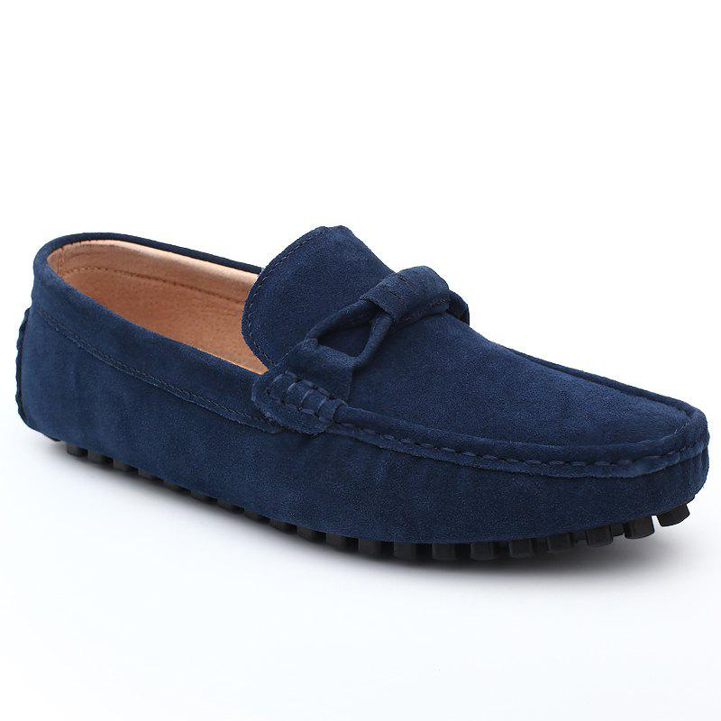 The Fall of New Shoes Slip-On Doug Foot Soft Bottom Shoes Doug Comfortable Leather Men'S Shoes - CERULEAN 40