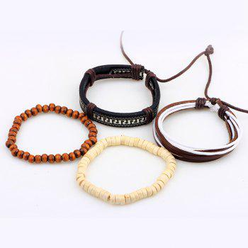 4Pcs Beads Hand Woven Leather Bracelets -  multicolor COLOR