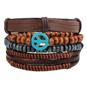 4 Pcs Peace Symbol Hand Woven Bead Leather Bracelets - BROWN #26 BROWN