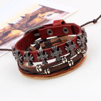 2 Pcs Cross Hand Woven Bead Diy Leather Bracelet -  BROWN