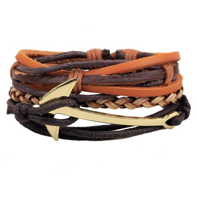3 Pcs Anchor Serpentine Hand Woven Beaded Jewelry Diy Bracelet - BROWN