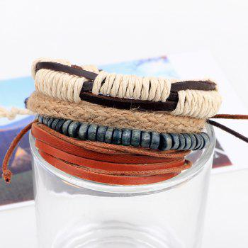 4 Pcs Hemp Wood Bead  Diy Hand Woven Leather Bracelet -  multicolor COLOR