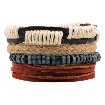 4 Pcs Hemp Wood Bead  Diy Hand Woven Leather Bracelet - MULTI-COLOR multicolor COLOR