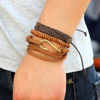 3 Pcs Hip-Hop Handmade Beaded Jewelry Leather Bracelet Hook - BROWN