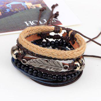 4 Pcs Leaves Handmade Leather Bracelet Rope Wooden Beads -  multicolor COLOR