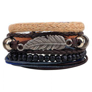 4 Pcs Leaves Handmade Leather Bracelet Rope Wooden Beads - MULTI-COLOR multicolor COLOR
