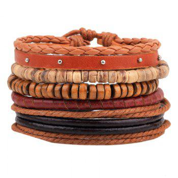 5 Pcs Cowhide Rope Woven Bracelet Coconut Wood Bead Bracelet - MULTI-COLOR multicolor COLOR