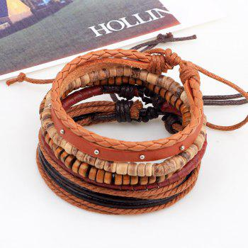 5 Pcs Cowhide Rope Woven Bracelet Coconut Wood Bead Bracelet - multicolor COLOR