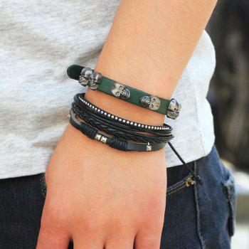 2 Pcs Fashion SKull Rivet Leather Bracelet - multicolor COLOR