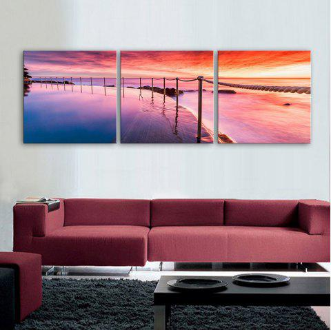Yc Special Design Frameless Paintings Sunrise of 3 - RED / YELLOW / BLUE 12 X 12 INCH (30CM X 30CM)