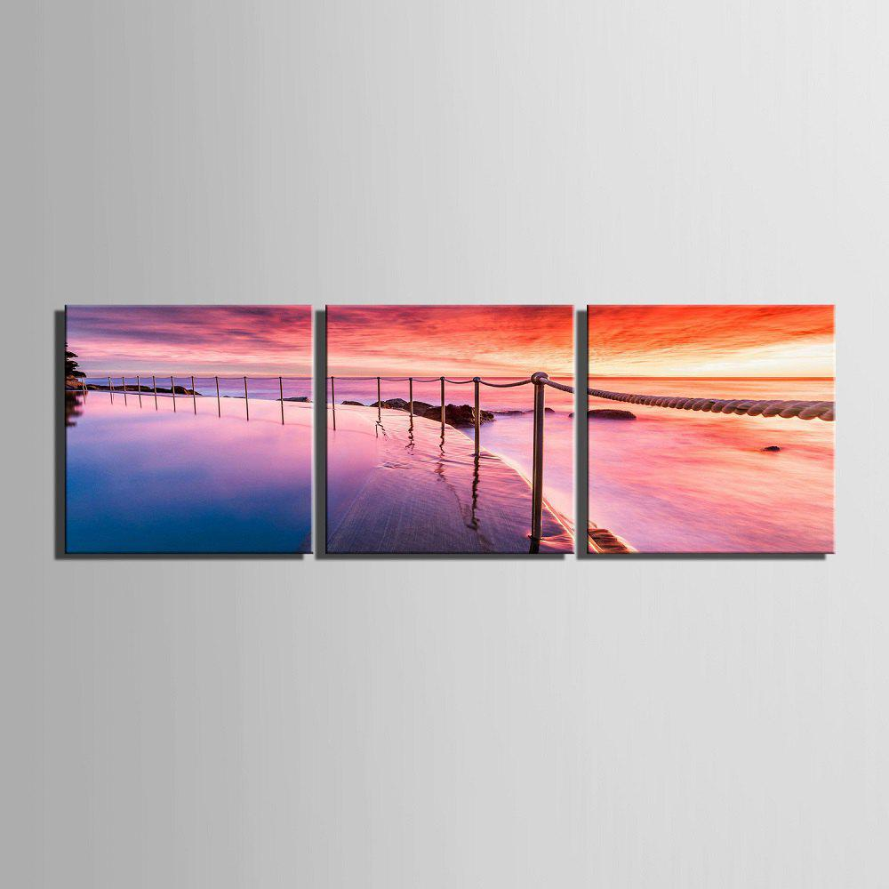 Yc Special Design Frameless Paintings Sunrise of 3 - RED / YELLOW / BLUE 16 X 16 INCH (40CM X 40CM)