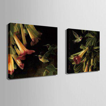 Yc Special Design Frameless Paintings Flowers And Birds of 2 - BLACK/ORANGE 20 X 20 INCH (50CM X 50CM)