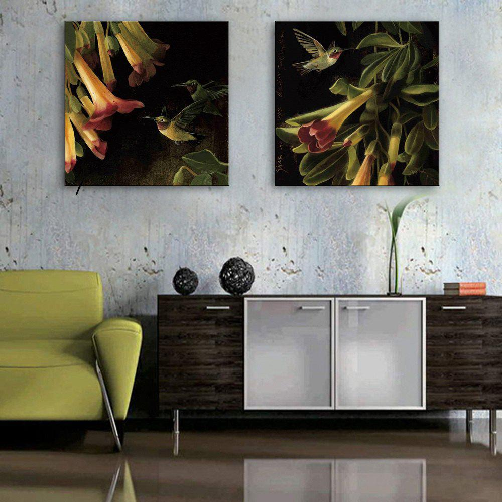 Yc Special Design Frameless Paintings Flowers And Birds of 2 - Noir et Orange 16 X 16 INCH (40CM X 40CM)
