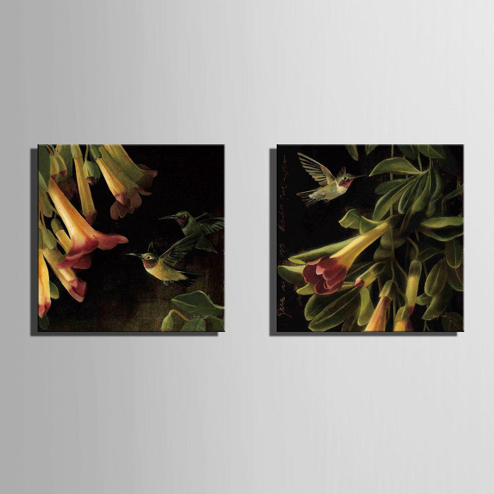 Yc Special Design Frameless Paintings Flowers And Birds of 2 - BLACK/ORANGE 12 X 12 INCH (30CM X 30CM)