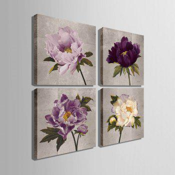 Yc Special Design Frameless Paintings Peony - WHITE / PURPLE 24 X 24 INCH (60CM X 60CM)