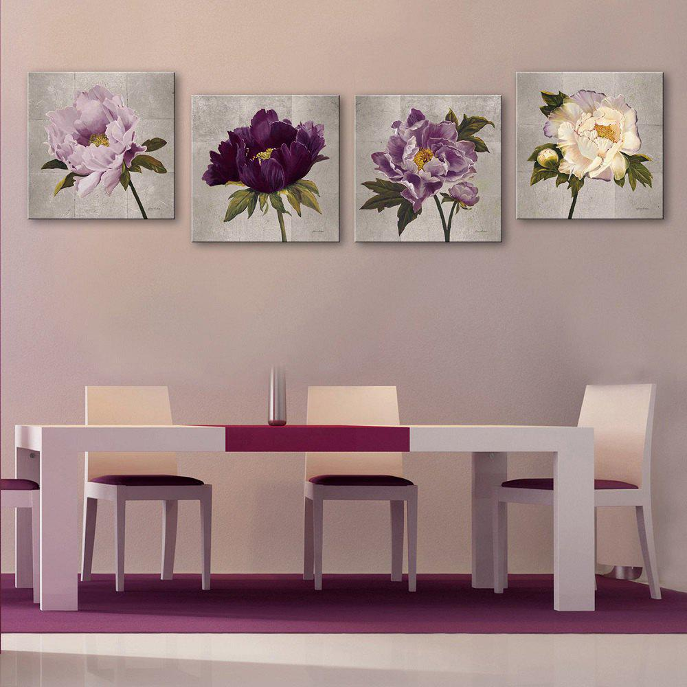 Yc Special Design Frameless Paintings Peony - WHITE / PURPLE 12 X 12 INCH (30CM X 30CM)